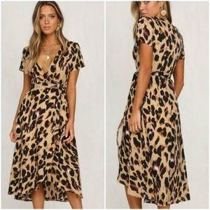 Dresses & Skirts - Leopard Print V Neck Wrap or Dress